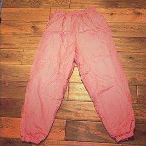 Adorable pink swishy windbreaker pants large